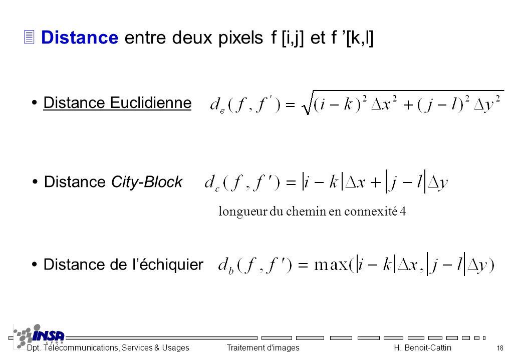 Distance entre deux pixels f [i,j] et f '[k,l]